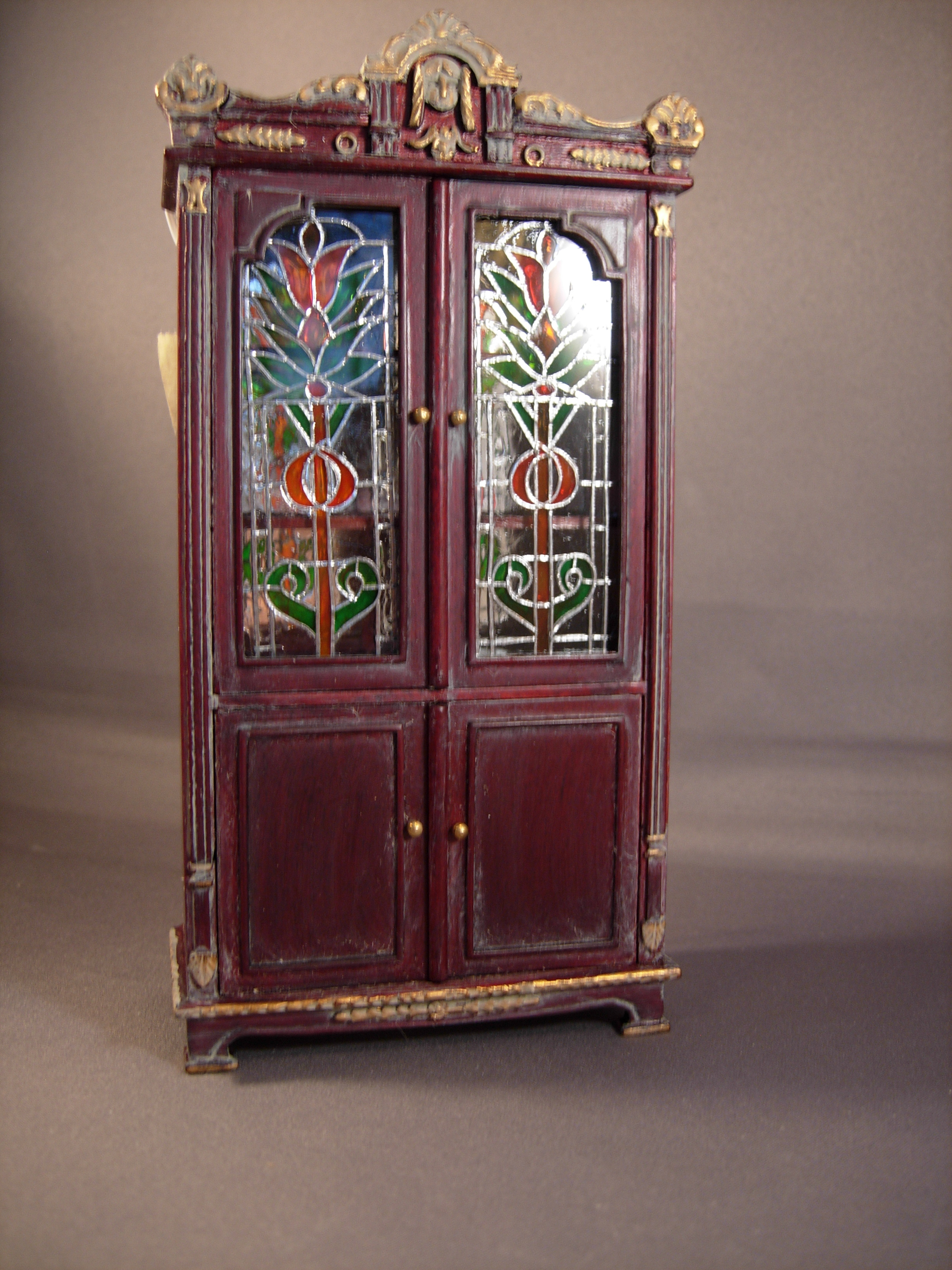 Lit Stained Glass Cabinet - $220